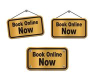 Book online now - bronze signs Royalty Free Stock Photos