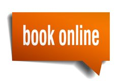 Book online orange 3d speech bubble. Book online orange 3d square isolated speech bubble Royalty Free Stock Image