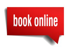 Book online red 3d speech bubble. Book online red 3d square isolated speech bubble Stock Photos