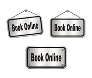 Book online - silver signs Stock Image