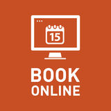 Book online, vector icon Stock Photo