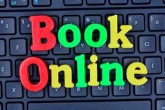 Book online words on computer keyboard. Closeup Stock Photos