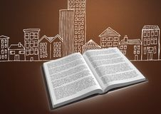 Book open against brown background with city buildings drawing graphic Royalty Free Stock Photo