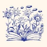 Book open creative idea bulb isolate illustration vector. Royalty Free Stock Photos