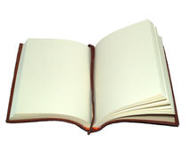 Book on an open page. A leatherbound book open to a blank page with a bookmark present Royalty Free Stock Photography
