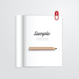 Book open with pencil vector magazine template. Royalty Free Stock Photography