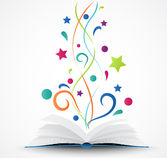 Book opened .abstract with colorful star and wave Stock Images