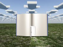 Book with opened door and clouds in arrow shape royalty free stock photos