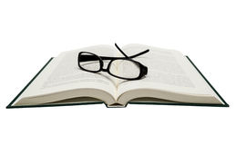 Book Opened With Eyeglasses Isolated On White Royalty Free Stock Image