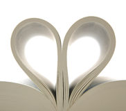 Book with opened pages and shape of heart Stock Image