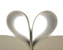 Book with opened pages and shape of heart Stock Images