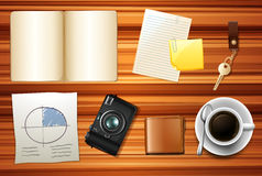 Book and other accessories on wooden table royalty free illustration