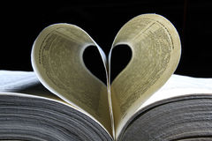 Book page like a heart Stock Photography