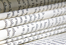Book pages. Detail of rolled book pages Stock Images
