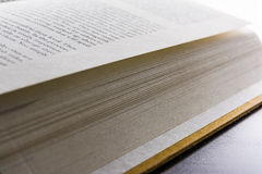 Book Pages Binding Spine Reading Flipping New Words Black Desk Bright Stock Images