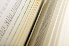 Book pages detail with out of focus sheets Stock Image