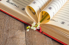 Book pages folded into a heart and a flower lily Stock Photo