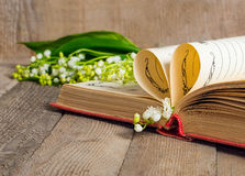 Book pages folded into a heart and a flower lily of the valley Royalty Free Stock Photo