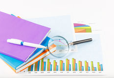 Book and papers charts  successful for business. Book and papers charts of successful for business Stock Photography
