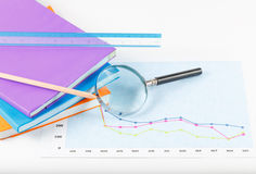 Book and papers charts  successful for business Royalty Free Stock Images