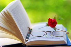 Book, pen and glasses. Royalty Free Stock Image