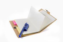 Book and pen on white background Stock Photo