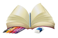 A book with a pencil, an eraser and crayons Royalty Free Stock Photo