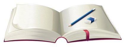 A book with a pencil and an eraser. Illustration of a book with a pencil and an eraser on a white background Stock Photos