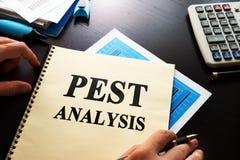 Book PEST analysis. Book PEST analysis business on a desk Stock Photo