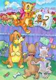 Kitten read book for his friends dogs Royalty Free Stock Image