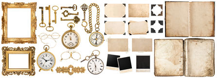 Book, photo frames with corner, golden accessories isolated on w Royalty Free Stock Photography