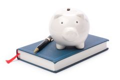 Book and Piggy Bank Stock Photo