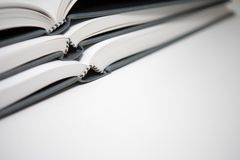 Book Pile. Books piled in abstract environment Stock Photo