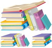 Book Pile. Illustration of a cartoon book pile in 3 different versions Stock Image