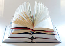Book pile. Opened large book stack on white background Royalty Free Stock Image