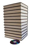 Book pile and one DVD disk. One DVD disk replaces a towering pile of books.(clipping path included stock photography