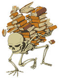 Book Pile Skeleton. Skeleton holding pile of books vector, vertical,  isolated Stock Image
