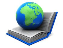 Book with planet. Education concept, blue planet on the opened book isolated on a white background Royalty Free Stock Images