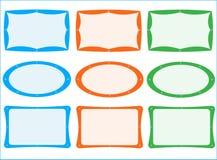 Book plates. Illustration of book plates, blue, orange, green Royalty Free Stock Image