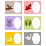 Book plates. In different birds and animals which can be used as celebration and invitation cards Stock Photography