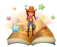 A book with a pretty cowgirl. Illustration of a book with a pretty cowgirl on a white background Royalty Free Stock Images