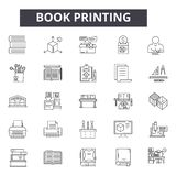 Book printing line icons for web and mobile design. Editable stroke signs. Book printing  outline concept illustrations. Book printing line icons for web and vector illustration
