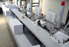 Book printing. Production line in printing house stock photo