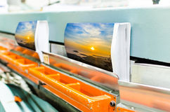 Book production perfect bound line in offset print plant Royalty Free Stock Image