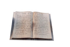 Book of Psalms. The 23rd Psalm book made of marble and other stone Royalty Free Stock Images
