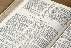 Book of Psalms. Holy Bible opened on the Book of Psalms Stock Photography
