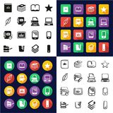 Book Publishing Icons All in One Icons Black & White Color Flat Design Freehand Set vector illustration