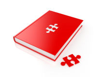 Book with puzzle. 3d render of red book with puzzle on white background Royalty Free Stock Photo
