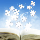 Book and puzzles. Open blank book and puzzles concept Royalty Free Stock Image