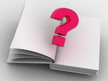 The book and question. 3d. Very beautiful three-dimensional graphic illustration Stock Photo